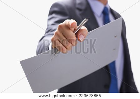 Businessman Points A Finger At Someone Who Watches A Photo Carries Out The Selection Of The Selectio
