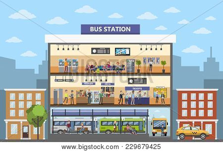 Bus Station Building Interior In The City.