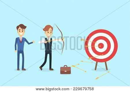 Businessman Aiming In Target And Shooting With Arrow.