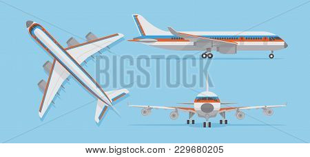 Modern Passenger Airplane, Airliner In Top, Side, Front View. Vector Aircraft In Flat Style. Aircraf