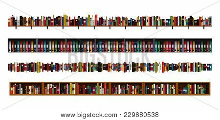Vertically Seamless Book Shelves Border Design Elements Set. Vector Illustration Bookshelves Divider