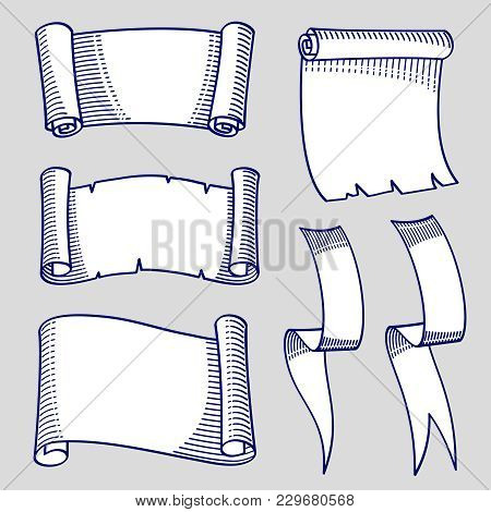 Hand Drawn Sketch Of Scrolls And Ribbons. Ribbon Scroll Decoration Sketch Vintage, Vector Illustrati