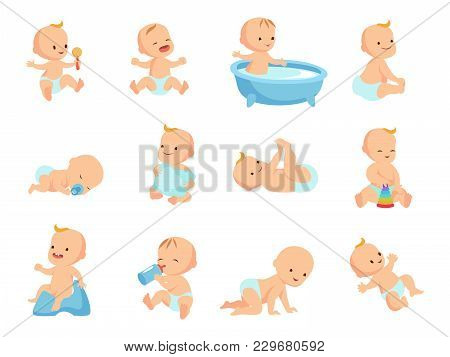 Infant Newborn Baby Big Set In Different Activity Isolated On White. Child And Infant, Boy And Girl
