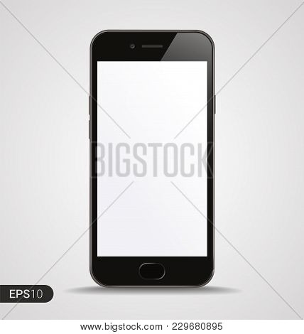 New High Detailed Realistic Smartphone with Blank Screen isolated on White Background. Front View For Print, Web, Application. Device Mockup Separate Groups and Layers. Easily Editable Vector illustration