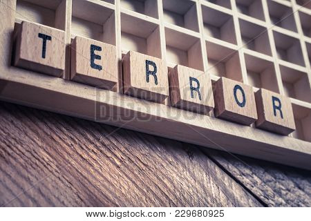 Macro Of The Word Terror Formed By Wooden Blocks In A Typecase
