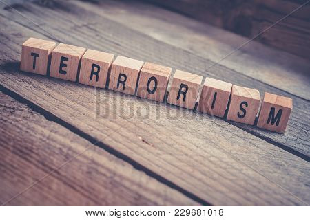 Macro Of The Word Terrorism Formed By Wooden Blocks On A Wooden Floor