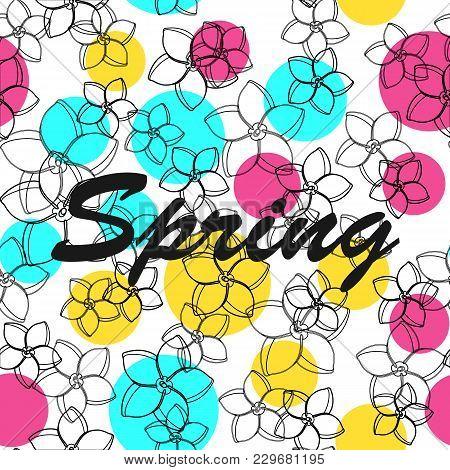 Floral Seamless Pattern Background Spring Vector Illustration