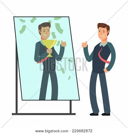 Businessman Looking Himself Happy And Successful In Mirror Reflection. Success In Business And Winne
