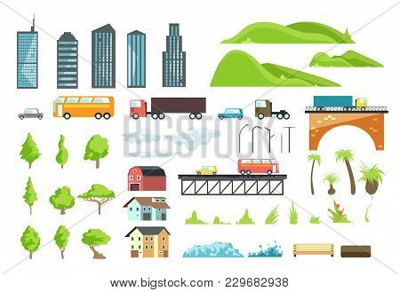 Flat City Map Vector Elements With Urban Transport, Road, Trees And Buildings. Illustration Of Bridg