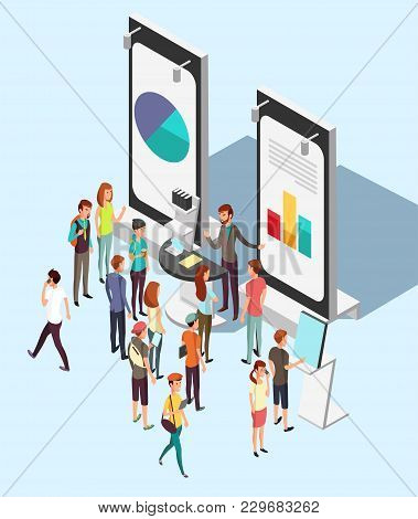 People Crowd At Exhibition Trading Promotion Stand In Exhibition. Market Retail Isometric Vector Con