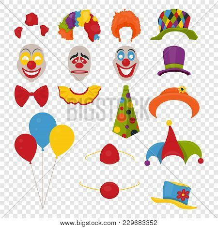 Vector Party Birthday Or 1th April - Fool S Day - Photo Booth Props. Hats, Wigs, Neckties, Clown Nos