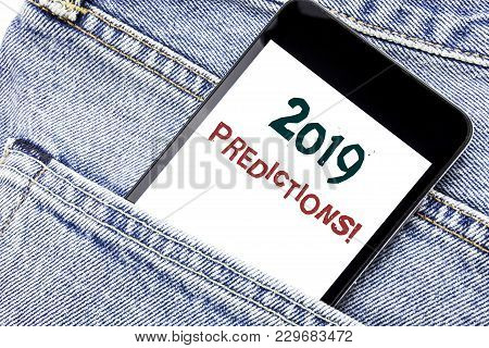 Handwriting Announcement Text Showing 2019 Predictions. Business Concept For Forecast Predictive Wri