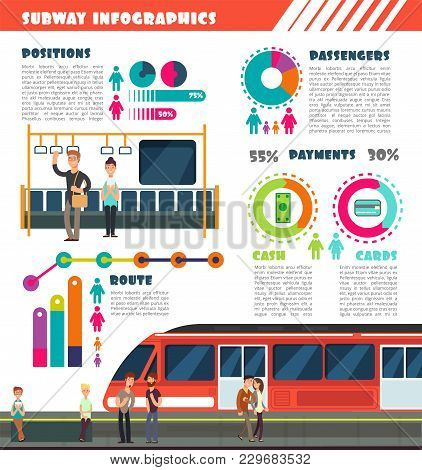 Subway, Metro Vector Urban Underground Transport Infographics With Charts And Data Graphs. Illustrat