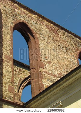 Detail Of The Ruins Of A Gothic Monastery, Stone Masonry With A Typical Gothic Arch, Architectural E