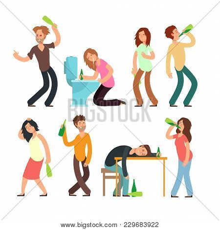 Cartoon Man And Woman Alcoholic. People Drunkard In Bad Situation Vector Set. Drunkard Man, Drunk An