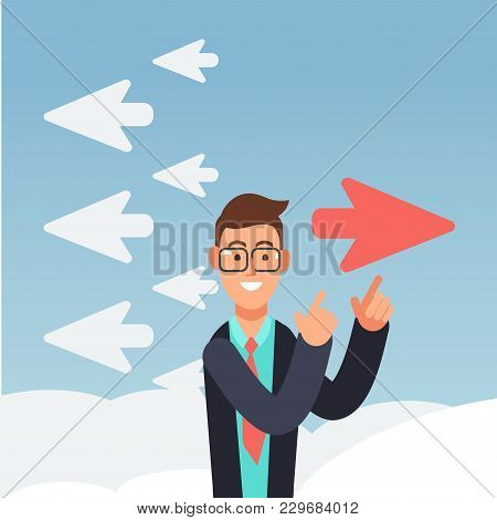 Red Airplane Changes Direction. Different Thinking And Inovation Business Vector Concept. Paper Airp