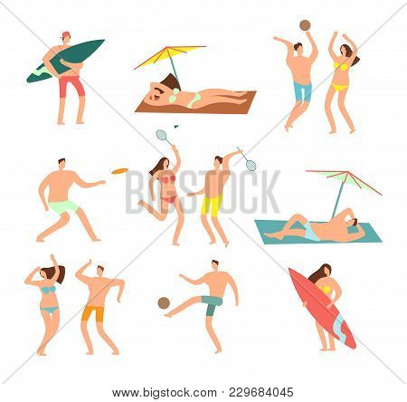 People In Swimsuits In Sea Beach Vecation. Relaxing Woman And Man Vector Characters. Woman And Man I