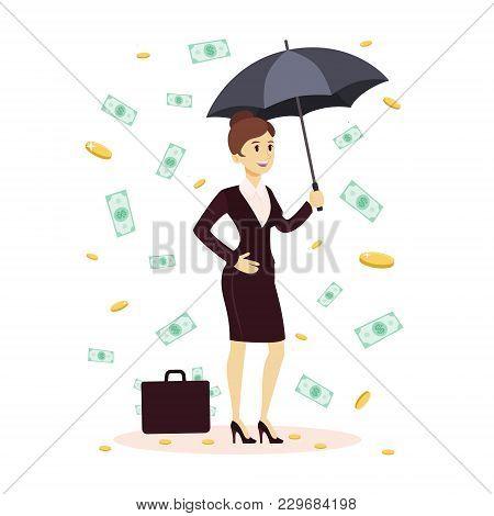 Businesswoman Standing With Umbrella Under Money Rain.