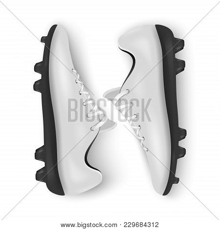 Photo-realistic Vector 3d White Blank Pair Mens Football Or Soccer Boots, Shoes Closeup Isolated On