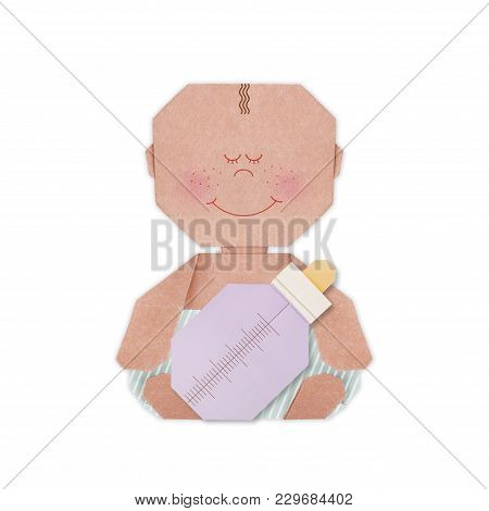 Baby Boy In Nappy And Baby Bottle And Pacifier Origami Baby Shower On A White Background