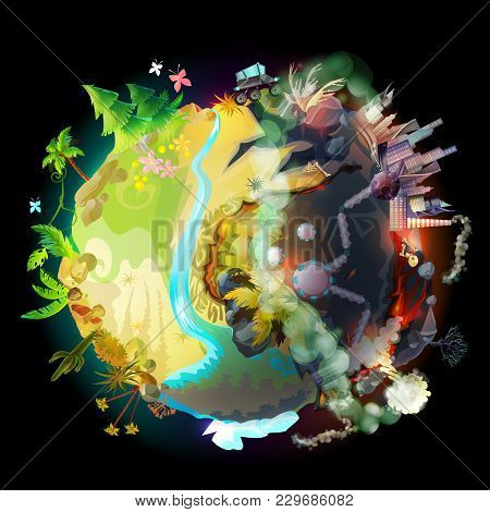 Vector Illustration Of Green Earth, Evolution, Technology Progress And Environmental Destruction, Cl