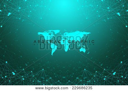 Geometric Graphic Background Communication With World Map. Big Data Complex With Compounds. Perspect