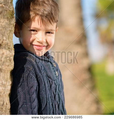 Portrait Of Happy Smiling Boy, Outdoors