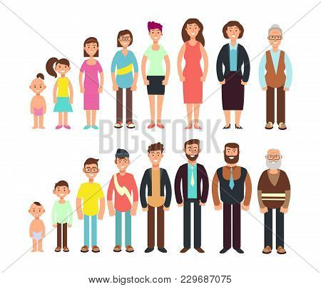 Stages Of Growth People. Children, Teenager, Adult, Old Man And Woman Vector Characters Set. Develop