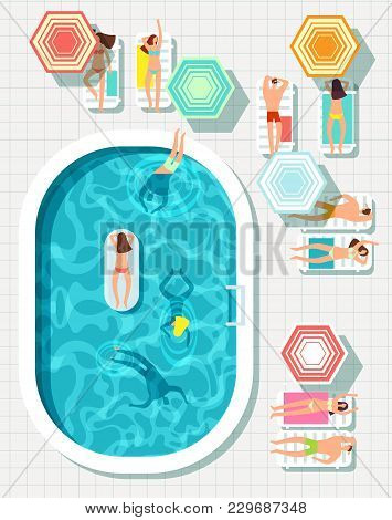 People At Swimming Pool Summer Outdoor Vector Background. Summer Swimming Pool Outdoor, Swim Girl An