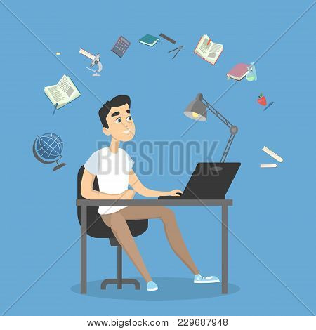 People Studying Illustration. Teen Boy Doing Homework On White.