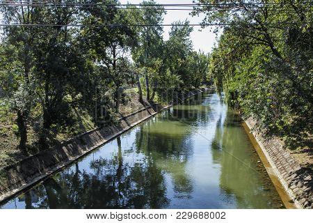 Timisoara, Romania - September 08, 2017:  View Of  Bega River On September 08, 2017 In Timisoara.