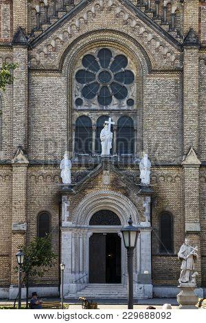 Timisoara, Romania - September 08, 2017:  The Door Of Catholic Church - Historic Building Located In