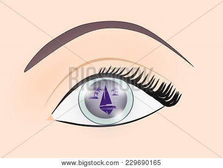 An Eye Where One Can See The Mirror Image Of A Seascape With A Sailboat And Some Island With Palm Tr