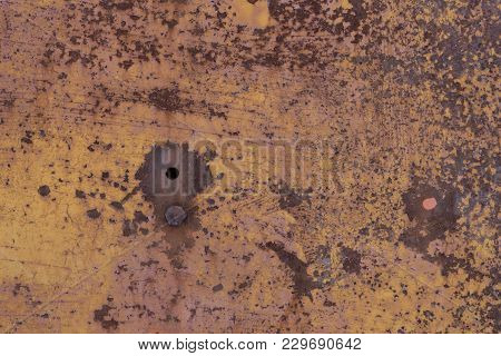 Old Worn Metal Surface With Paint. Rusty Metal Texture. Background. Metal. Wall. Copy Paste.