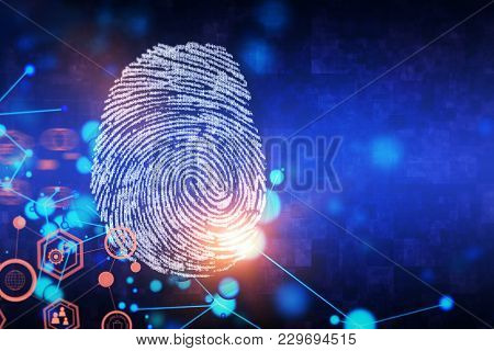 Creative Finger Print Background With Copy Space. Access And Security Concept. 3d Rendering