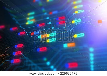 Abstract Colorful Technology Node Backdrop. Semiconductor Manufacturing Process And Design Concept.