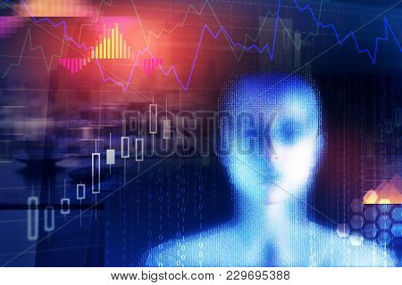 Creative Digital Binary Code Female Head On Blue Background. Computing, Cyberspace And Programming C