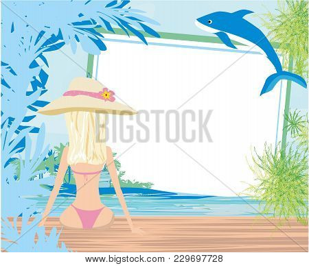 Summer Girl On The Background Of Sea And Palm Trees , Vector Illustration
