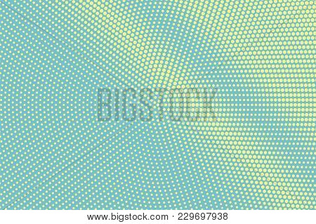 Green Yellow Dotted Halftone. Diagonal Centered Dotted Gradient. Half Tone Vector Background. Artifi