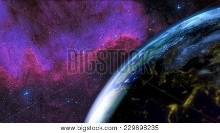 Earth Seen From The Sky With The Day Night Alternation With A Nebula In The Background. Focus On The