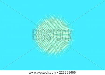 Turquoise Yellow Dotted Halftone. Centered Circle Dotted Gradient. Half Tone Vector Background. Arti