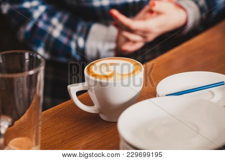 Barista Is Show How To Make Latte Art Coffee. Lesson With Special Metal Device - Latte-art Pen Tool.