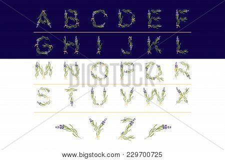 Retro Sign Alphabet With Lavender Flower Initial. Watercolor Style, Botanical Illustration Isolated