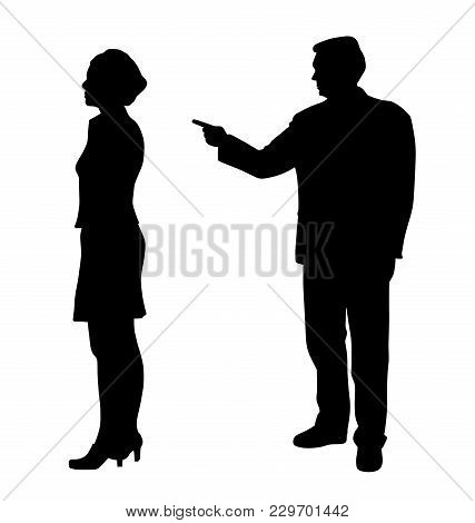 Man Emotionally Abusing Woman. Isolated White Background. Eps File Available.