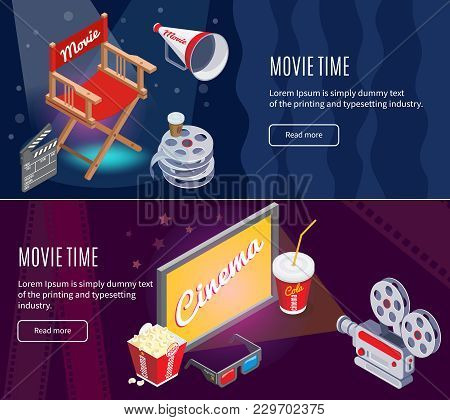 Isometric Colorful Cinematography Horizontal Banners With Movie Production And Cinema Entertainment