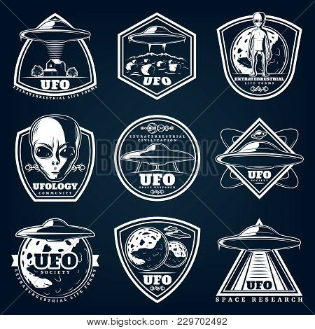 Vintage White Ufology Labels Set With Inscriptions Ufo Unknown Planets Extraterrestrials On Blue Bac