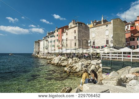 Rovinj, Croatia, September 27, 2017: Unknown People Eating On A Restaurant In The Old Town Of Rovinj