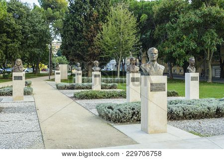 Pula, Croatia, September 27, 2017: Tito's Park And Monument In Pula, The Monument In Memory Of The F