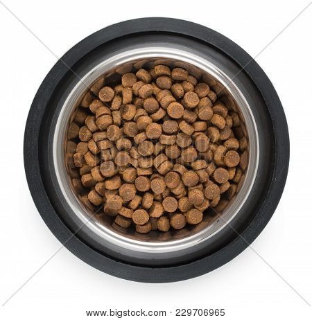 Stainless Steel Metal Bowl For Dog, Cat Or Other Pet With Dried Food Isolated On A White Background,