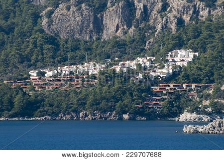 Marmaris Resort Town Residential District Built Between Coast And Mountain Cliff (turkey).